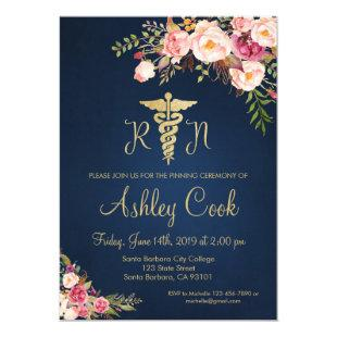 Nursing Graduation Invitation Navy Blue and Flower