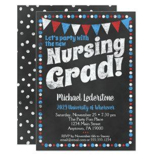 Nursing Graduation Party Invitation Red Blue