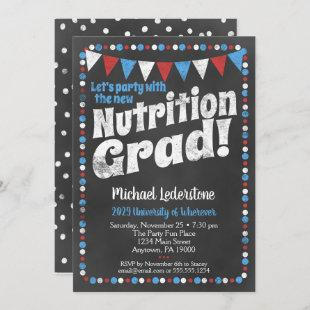 Nutritionist Graduation Party Invitation Red Blue