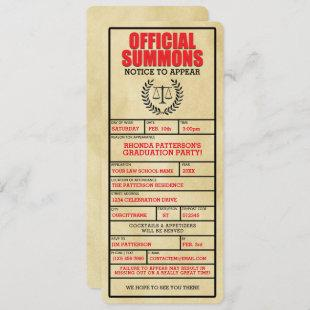 Official Summons Law School Graduation Party Invitation