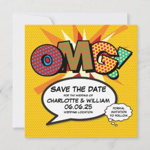 OMG Save the Date Fun Retro Comic Book Pop Art