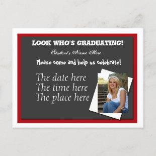 Open house graduation invitation postcard
