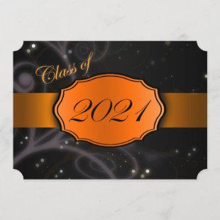 Orange and Black 2021 Graduation Invitations