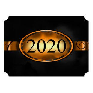 Orange and Black Floral Button 2020 Card