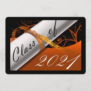 Orange and Black Graduation Announcement