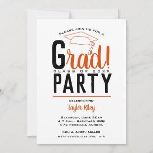 Orange and Black Graduation Party Invitations