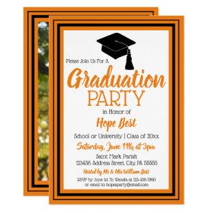 Orange and Black Photo Graduation Party Invitation