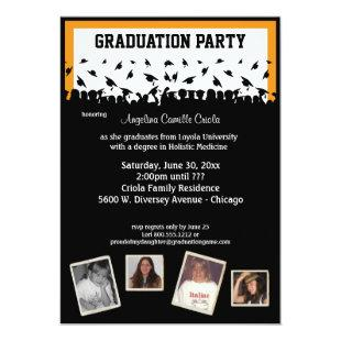 Orange And Black Silhouette Graduation Party Invitation