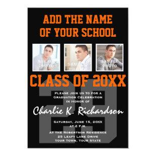 Orange and Black Team Colors Sports Graduation Invitation