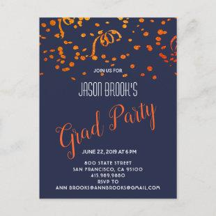 Orange And Gold Confetti On Black Announcement Postcard