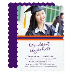 Orange and Purple Photo Graduation Invitation