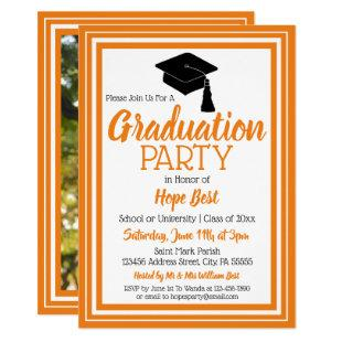 Orange and White Photo Graduation Party Invitation