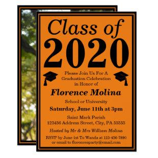 Orange Black Class of 2020 Graduation Photo Invitation