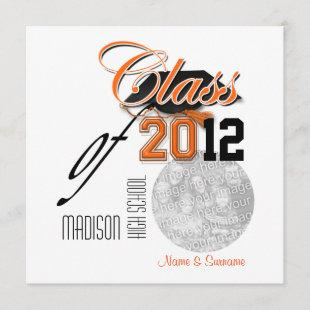 "Orange black graduation ""class of"" template"