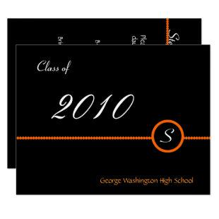 Orange & Black Monogram Photo Invitation