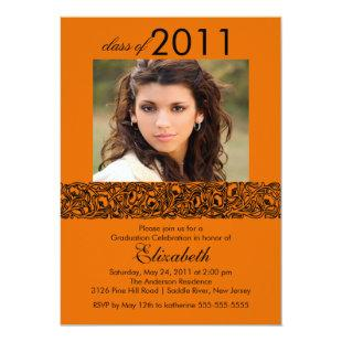 Orange & Black Photo Graduation Invitation