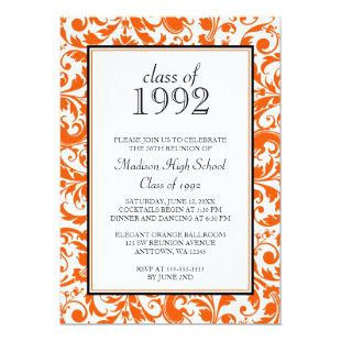 Orange Black Swirl Damask Class Reunion Invitation