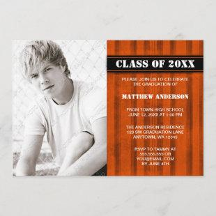 Orange Black Vintage Photo Graduation Announcement