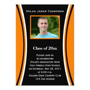 Orange, Black, White Photo Graduation Invitation
