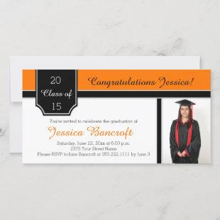 Orange Black White Photo Graduation Invitation