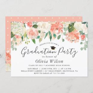 Orange Coral Peach Flowers Graduation Party Invitation