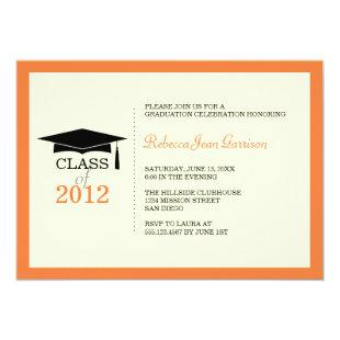 Orange ecru cap tassel graduation announcement