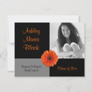 Orange Gerbera Daisy Photo Graduation Invitation