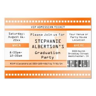 Orange Graduation or Party Admission Ticket Invitation