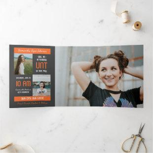Orange Modern Block 5-Photo Graduation Tri-Fold Invitation