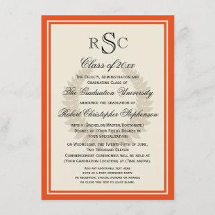 Orange Monogram Laurel Classic College Graduation Invitation