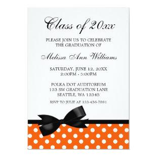 Orange Polka Dot Black Bow Graduation Announcement