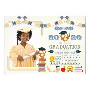 Owl Kids Graduation Photo Announcement Invitation