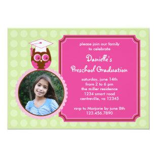 Owl Preschool Graduation Photo Invitation