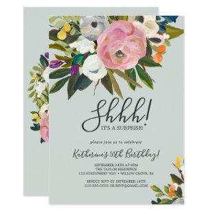 Painted Floral Surprise Party Invitation