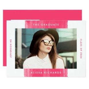 Painted in Hot Pink | Photo Graduation Party Invitation