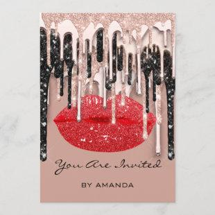 Party 16th Red Lips Kiss Rose Glitter Drips Skinny Invitation