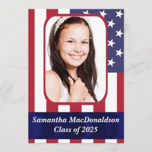 Patriotic American flag photo graduation Invitation