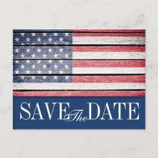 Patriotic Save the Date Postcard Invitation