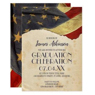 Patriotic Vintage Flag Graduation Party Invitation