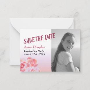 Peach and Pink Rose Graduation Save-the-Date Advice Card
