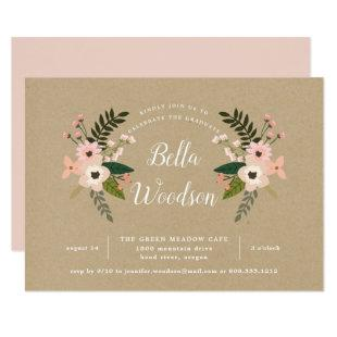 Peach Meadow Kraft Graduation Party Invitation