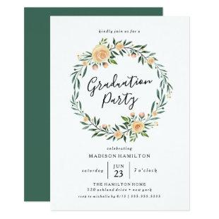 Peach Roses Wreath | Graduation Party Invitation