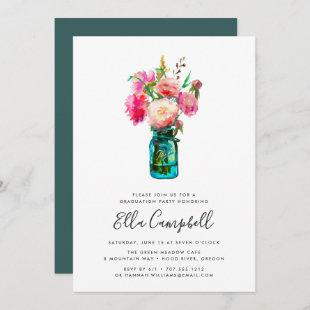 Peony Bouquet Graduation Party Invitation