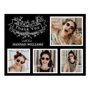 Personalized 4 Photo Collage Graduation Thank You Postcard
