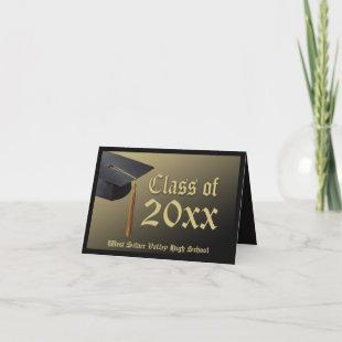 Personalized Black + Gold Graduation Announcement