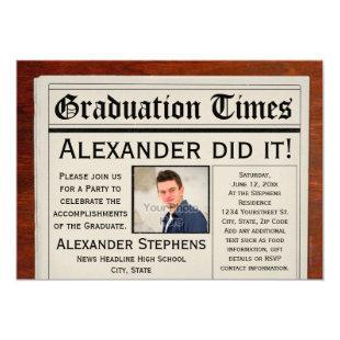Personalized Photo Newspaper Graduation Party Invitation