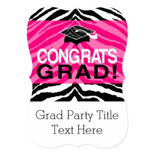 Personalized Pink Black Zebra Graduation Party Invitation