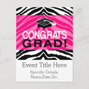 Personalized Pink Black Zebra Graduation Party Invitation Postcard
