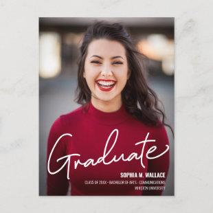 Personalized University Graduate with Photo Announcement Postcard