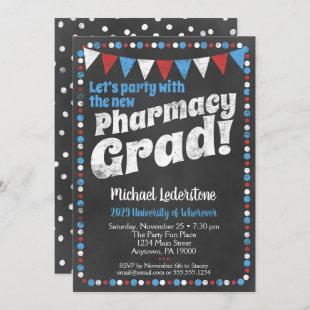 Pharmacy Graduation Party Invitation Red Blue